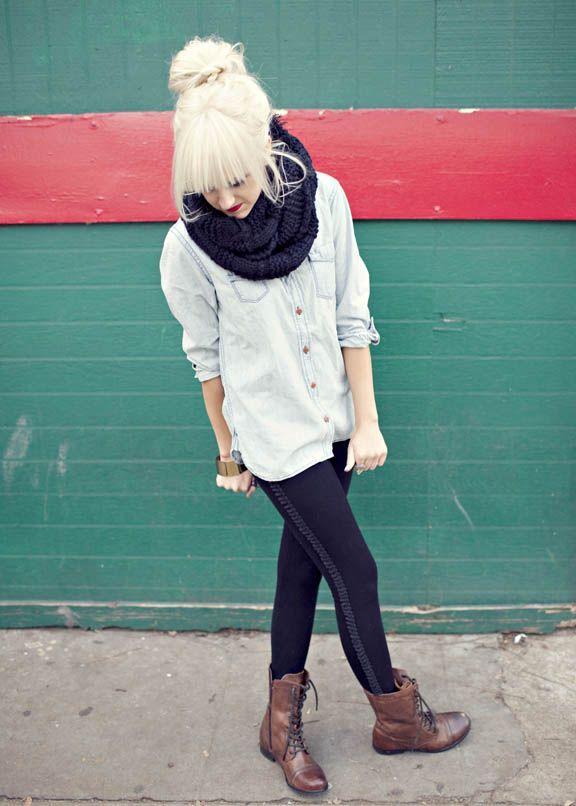 This but my army green shirt with leggings my combat boots and a cream scarf :)