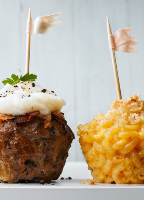Mac n' Cheese & Meatloaf in muffin tins