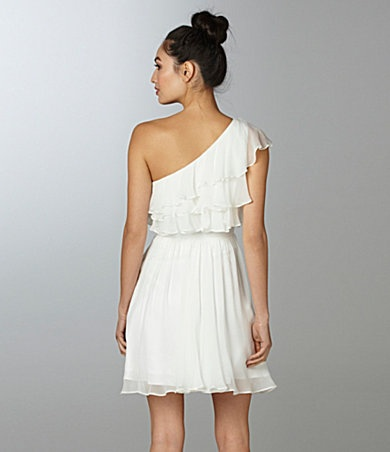 flowy white ruffle dress