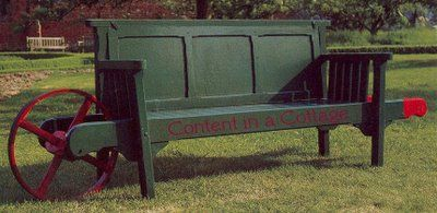 """Rolling garden bench via Contentinacottage.blogspot.com from the book """"Garden Ornament, Five Hundred Years of Nature....."""" Photos by Hugh Palmer."""