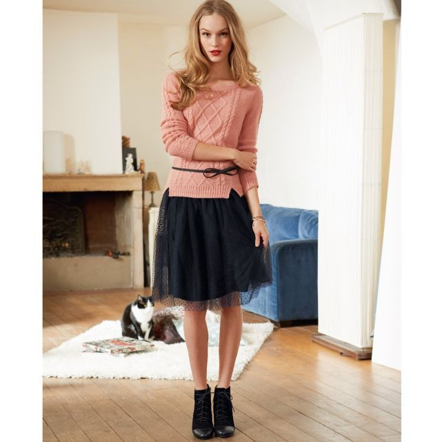 Mademoiselle R La Redoute automne-hiver 2013 pull torsades jupe tulle