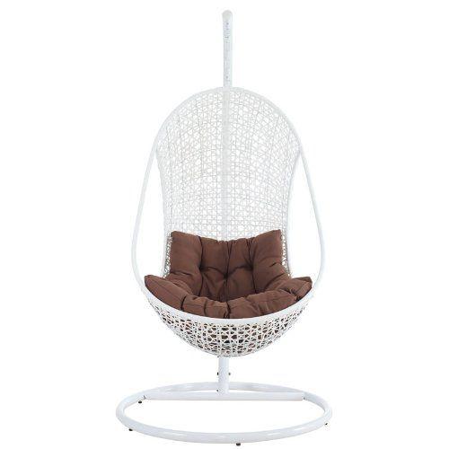 White Hanging Rattan Chair Brown Cushion