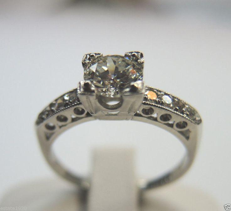 antique european engagement solitaire ring vintage