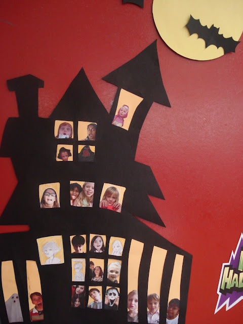 not a lesson plan but a great idea to decorate door or room for halloween