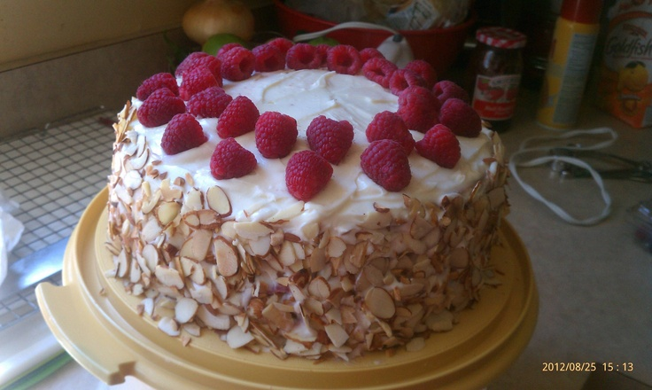 Almond Scented White Cake with Raspberry Preserves DELICIOUS