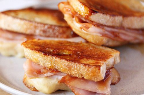 Grilled Gruyere Cheese & Ham on English Muffin bread. Superb late ...