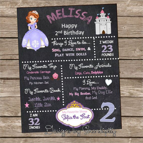 Sofia The First Theme Birthday Poster Board by SerendipityPlanning, $ ...