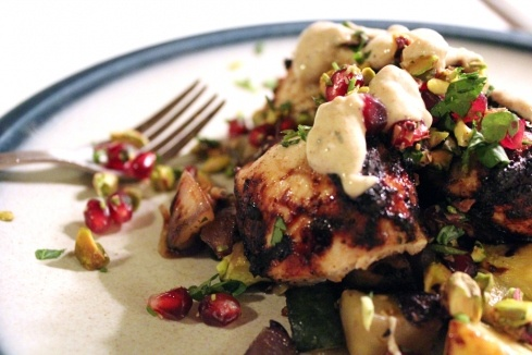 turkish chicken kebabs + pomegranate pistachio relish + spiced yogurt