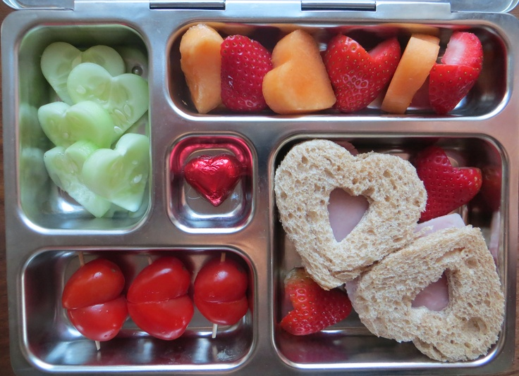 """I love you"" lunchbox for my girls: ham sandwiches, tomatoes, cucumbers, cantaloupe, strawberries and dark chocolate heart. Happy V-Day! For more lunch ideas you may LIKE, check www.facebook.com/TribecaRD"