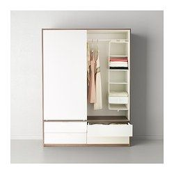 Trysil wardrobe w sliding doors 4 drawers white light grey ikea - Tringle armoire ikea ...
