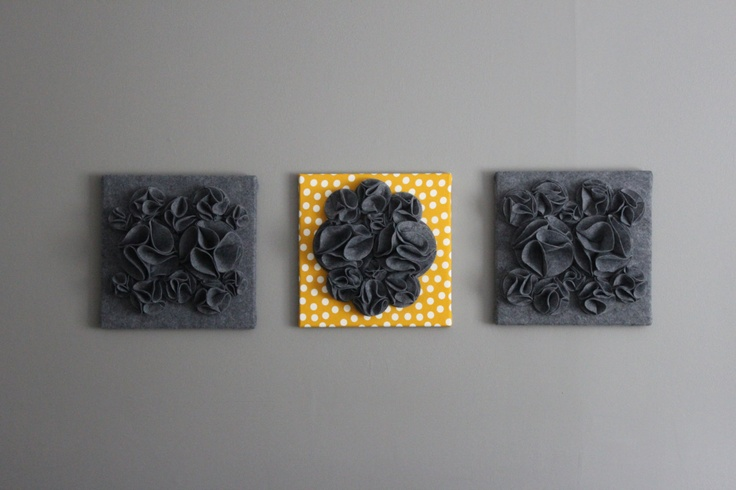 Pale Yellow Wall Decor : Three wall art canvases mustard yellow heather gray and