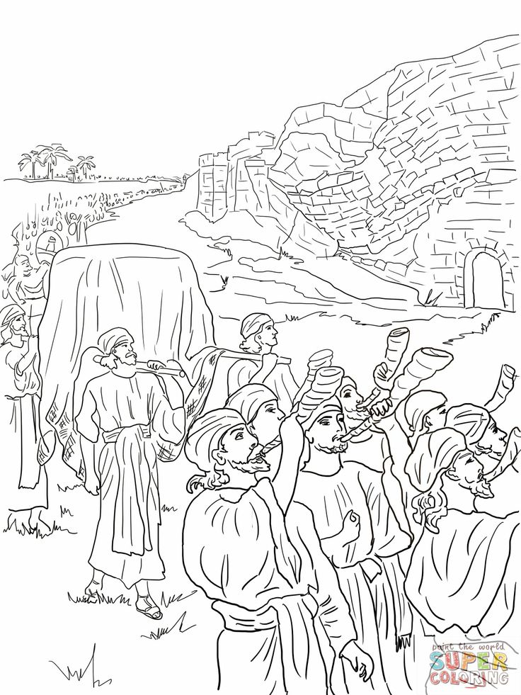 Joshua and the fall of jericho bible coloring pages for Joshua fought the battle of jericho coloring page