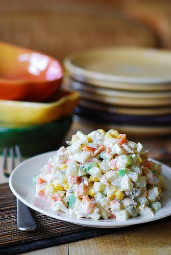 potato salad with russian potato salad or olivier or russian salad