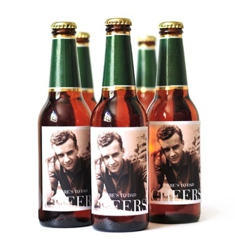Customize these Pinhole Press beer or soda labels with a photo of dad.