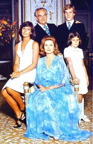 Prince Ranier and Princess Grace of Monaco with their children Caroline (born 1957), Albert (born 1958), and Stephanie (1965).