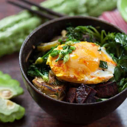 ... Stir-Fry with Bitter Melon, Sweet Potatoes and Tumeric Poached Eggs