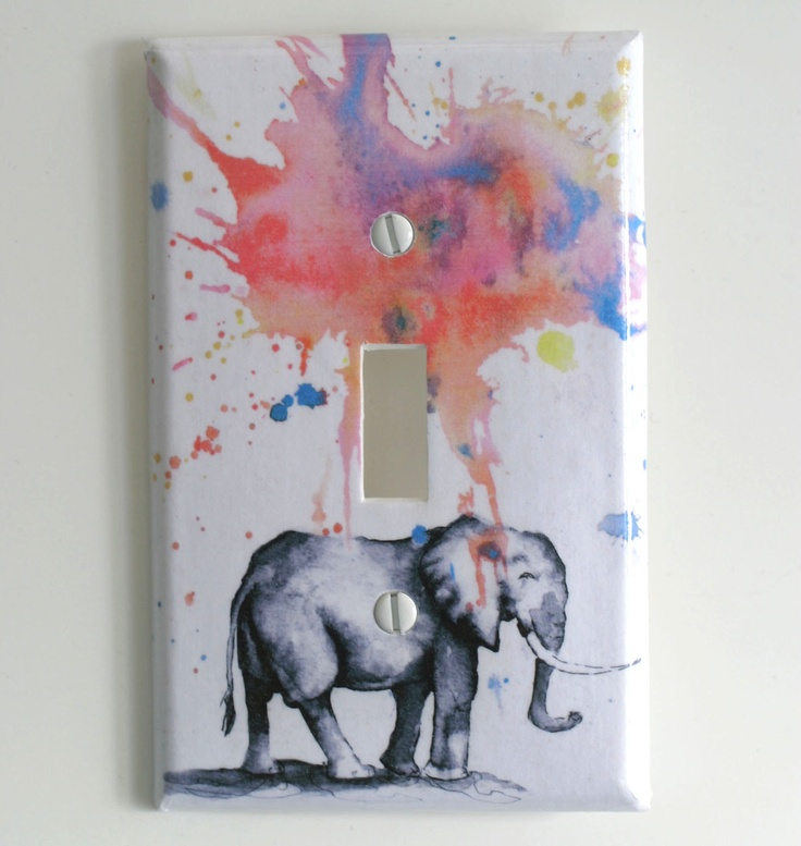 Elephant Decorative Light Switch Cover Plate Great Elephant Baby Nursery Decor, Kids Room Decor, and For Any Elephant Lover. $9.00, via Etsy.
