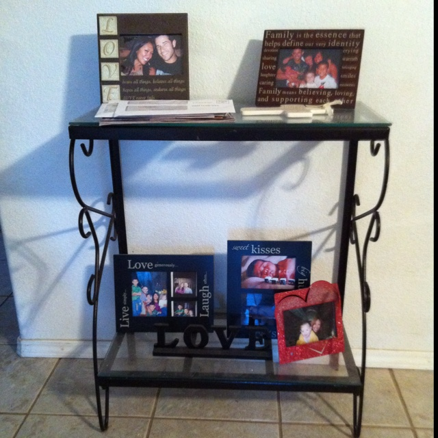Foyer Table Used : Aquarium stand used at sofa table in the foyer yard sale