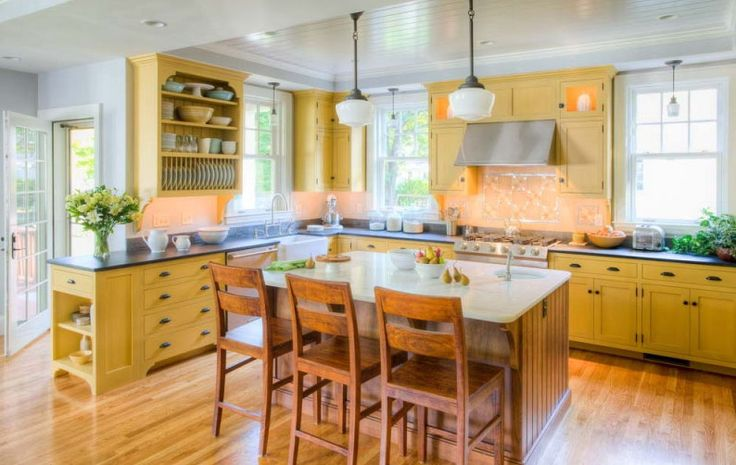 yellow traditional kitchen home design pinterest