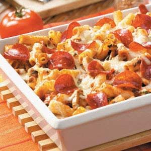 pepperoni ziti casserole. Incredibly bland but could be good with 1/2 ...