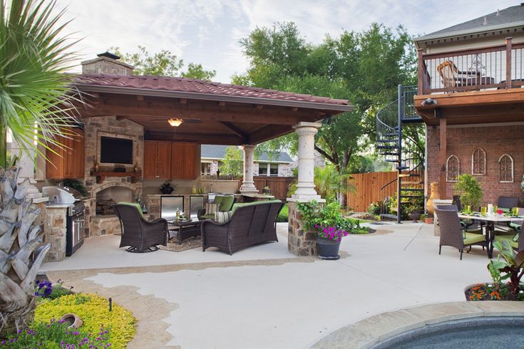 cabana with bar and fireplace  Poolside Cabanas  Austin Decks