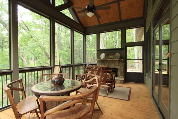 Screened in porch with fireplace house pinterest for Screened in porch fireplace ideas
