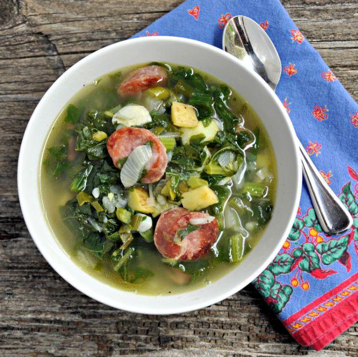 caldo verde traditional portuguese soup with kale chorizo and potatoes