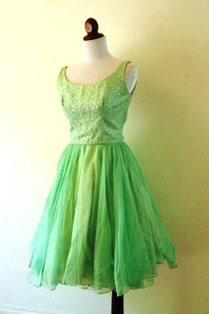 Vintage 1950s Minty Green Chiffon Party Prom by RetroKittenVintage, $95.00