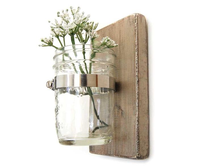 Wall sconce wood vase mason jar Metallic Taupe - single vase