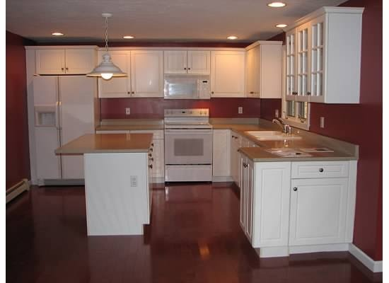 White cabinets cherry floors things for our first home for Flooring or cabinets first
