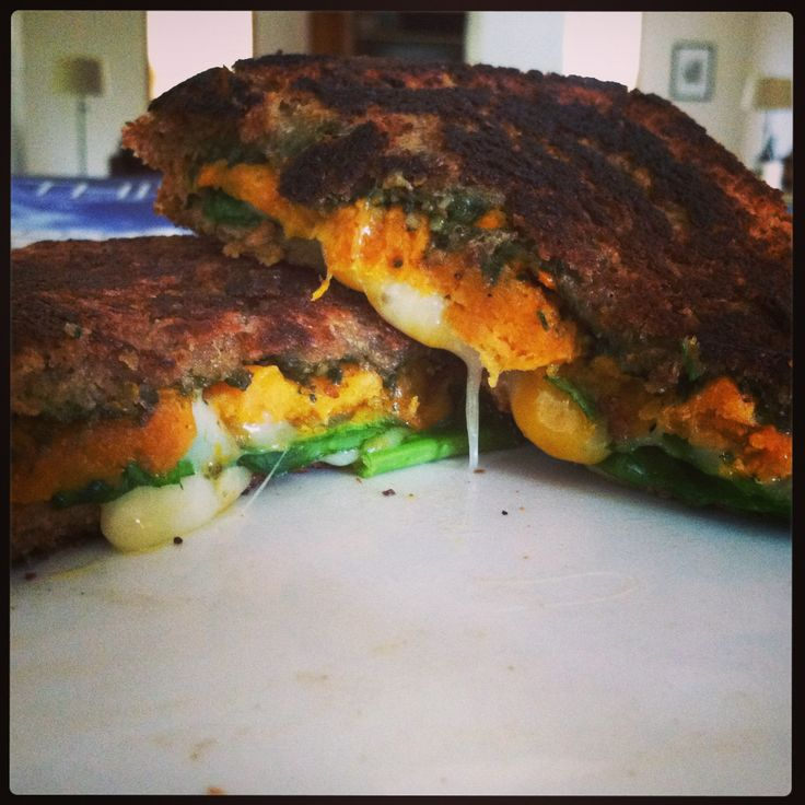 ... potato, basil pesto, spinach, and cheese grilled sandwich. Mmmmm