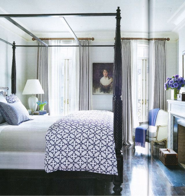 classic bedroom with blue accents in Brooke Shield's home, designed by Made NYC and David Flint