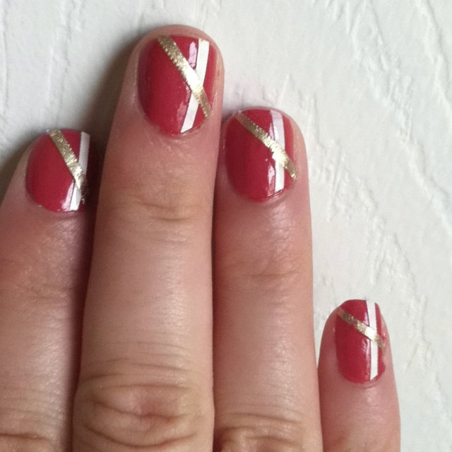 Nail design using painted tape | Nails | Pinterest