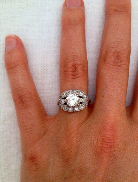 Vintage Platinum1940 s Diamond Engagement Ring