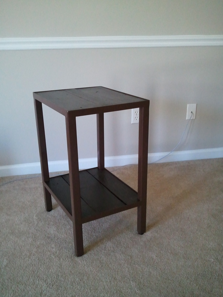Nightstand made from metal frame and pallet wood
