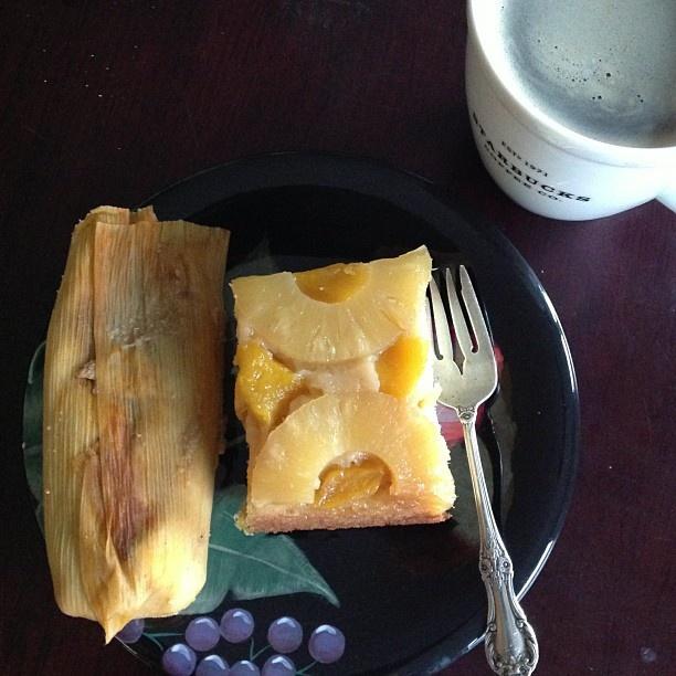 coffee time: tamale, nescafe, pineapple upside down cake