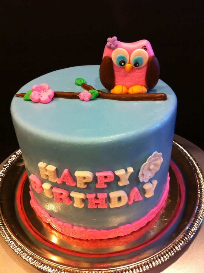 owl cake for little girl  Baking Cakes...and Pies  Pinterest