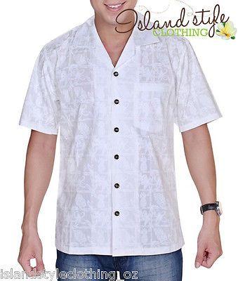 mens hawaiian shirts white pineapple polynesian party