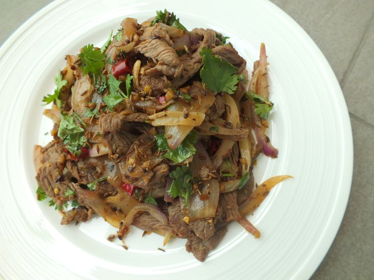 stir-fried beef with cumin and chilies | food | Pinterest
