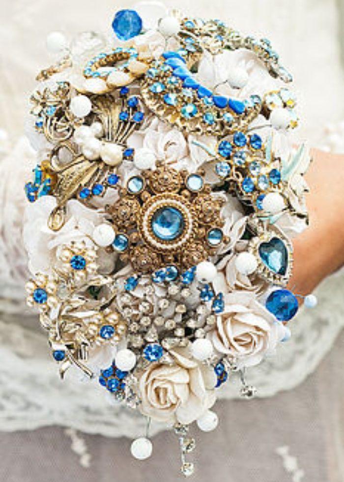 Vintage Jewellery Wedding Bouquets : Blue brooch bouquet wedding ideas