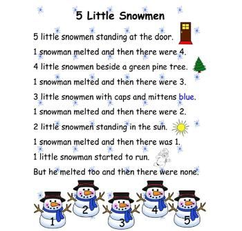 Winter Poem Five Little Snowmen | Ideas for Brenley | Pinterest