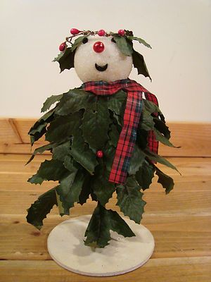 Holly Boy - Vintage 9 Inch Snowman Figure Styrofoam Wearing Holly Leaves Christmas