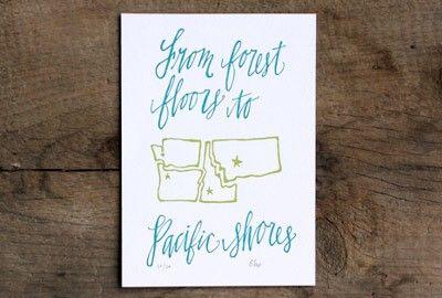 Northwest States Letterpress Print