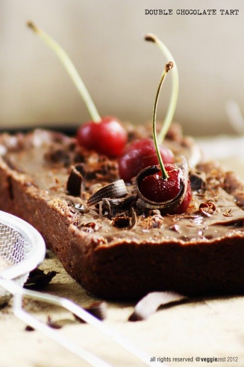 Double Chocolate Tart with Cherries - This chocolate tart is very rich ...