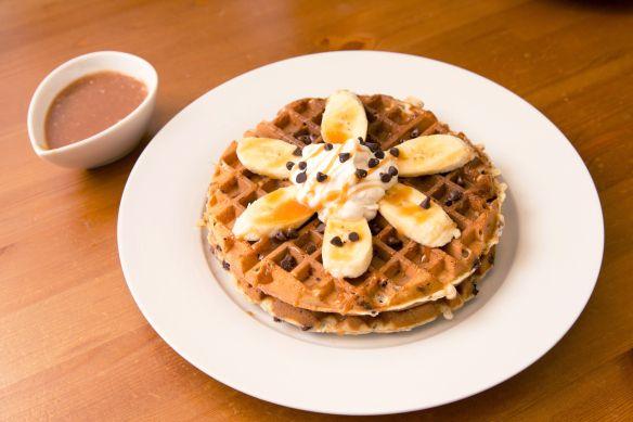 Banana Chocolate Chip Waffles with Salted Caramel Sauce