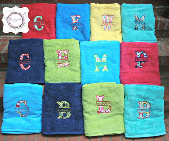 Appliqued Split Alpha With Embroidered Name Beach Towels