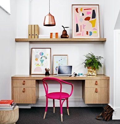 "Office nook | Thonet ""No. B9"" chair in a custom colour | Sisters Jessica Nixon and Timoli Mustica are Okologi , a Melbourne interior design [real living]"