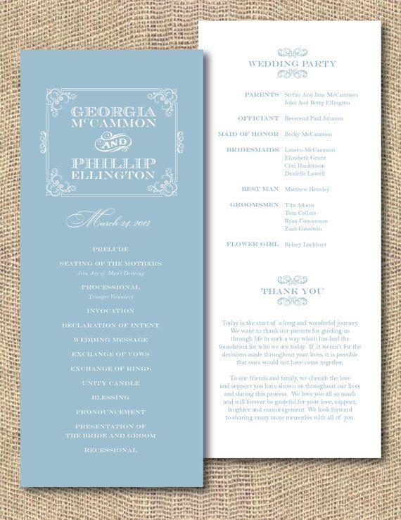 Printable wedding program southern belle for Downloadable wedding programs