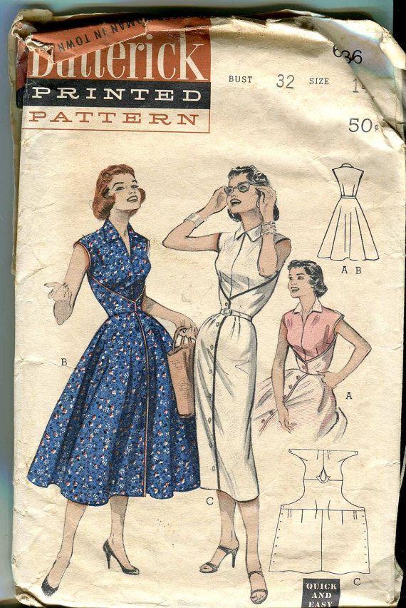 Butterick 6836 Vintage 50s  Not Quite WalkAway Dress by bellaloona