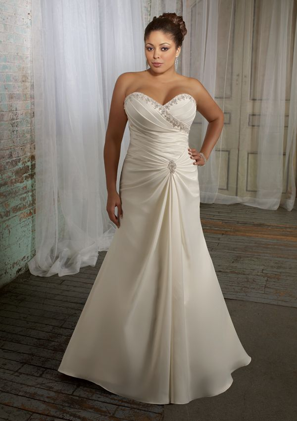 Pin by angela robertson on wedding we like pinterest for Wedding dresses for older plus size brides